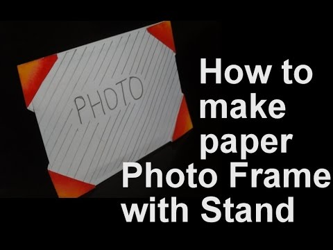 How to make paper photo frame with stand - YouTube