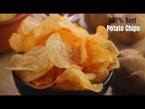 ఆలూ చిప్స్ 100% రియల్ ఆలూ చిప్స్ రెసిపీ Perfect potato chips recipe by vismai food Alu chips telugu