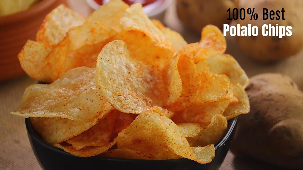 ఆలూ చిప్స్|100% రియల్ ఆలూ చిప్స్ రెసిపీ|Perfect potato chips recipe by vismai food|Alu chips telugu