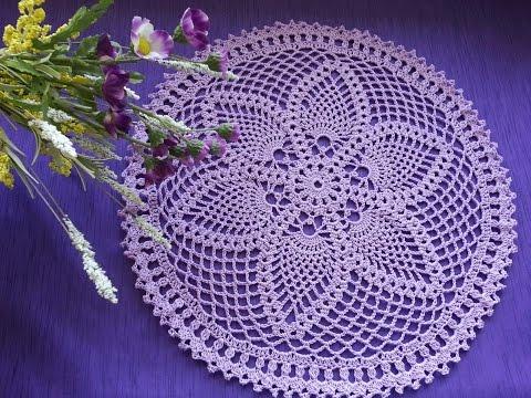 Вязаная салфетка Фиалка / Wood Violet Crochet Doily. Вязание крючком для начинающих.