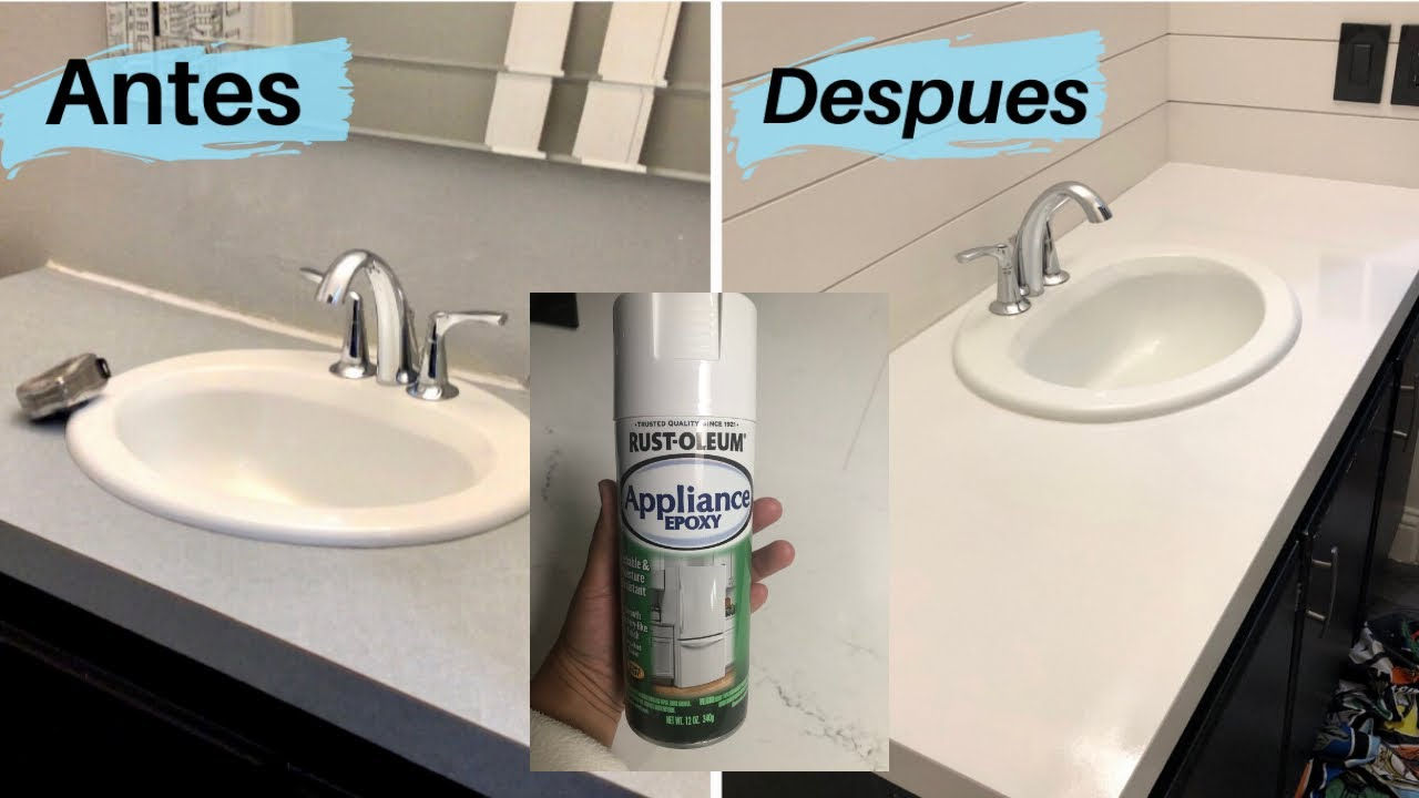 Cómo pintar las encimera del baño laminado /  how to paint the bathroom countertop DIY