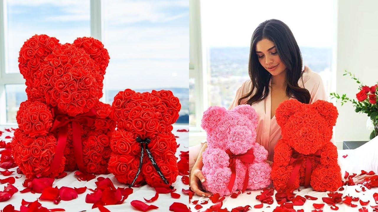 The Rose Bear - Valentine's Rose Bear - The Luxury Rose Teddy Bear - YouTube