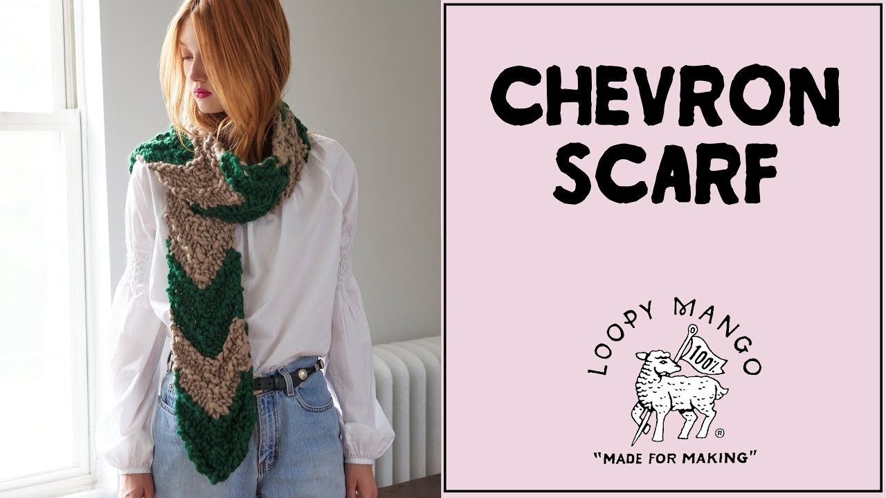 Knitting Chevron Pattern For One Way Or The Other Scarf Youtube