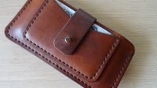 Смотреть клип Работа СЃ кожей. Чехол для телефона. making leather case for iphone.  DIY онлайн
