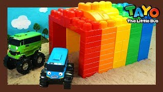 Learn Colors and Make a Rainbow Tunnel l Heavy Vehicles Lego Play l Tayo the Little Bus