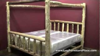 Cedar Lake Log Canopy Bed From Logfurnitureplace.com