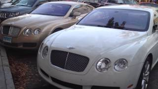 2 Bentley Continentals Parked Side By Side, Different Colors