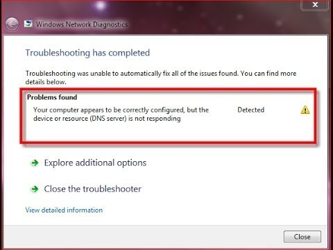 the device or resource (dns server) is not responding windows 10