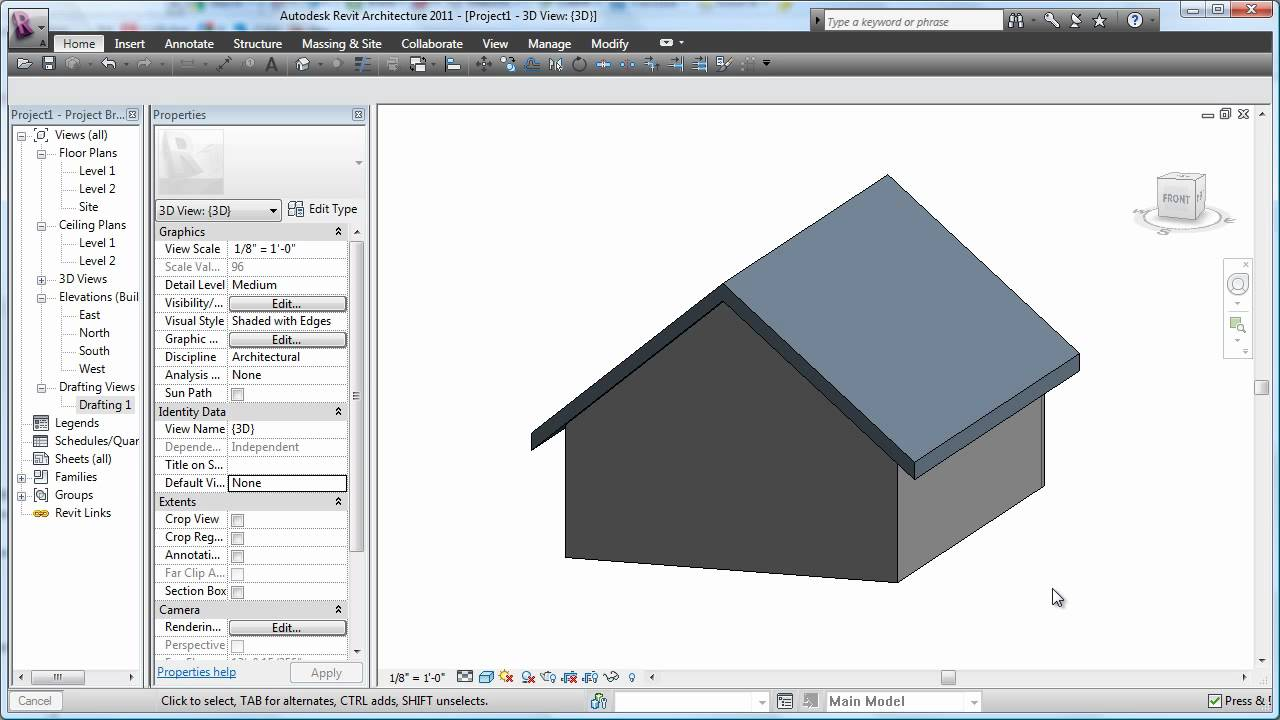 Revit 2011 Roof Basics 01 Gable Cadclip Youtube