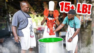 COOKING MY GIANT LIVE 15 Pound Pet Lobster!