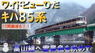 キハ85系 特急ワイドビューひだ 疾走!! 高山線へ雪景色を求めて~10両編成も収めました!!