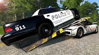 Launching Police Cars with the Bolide Ramp Car! - BeamNG Gameplay & Crashes - Cop Escape