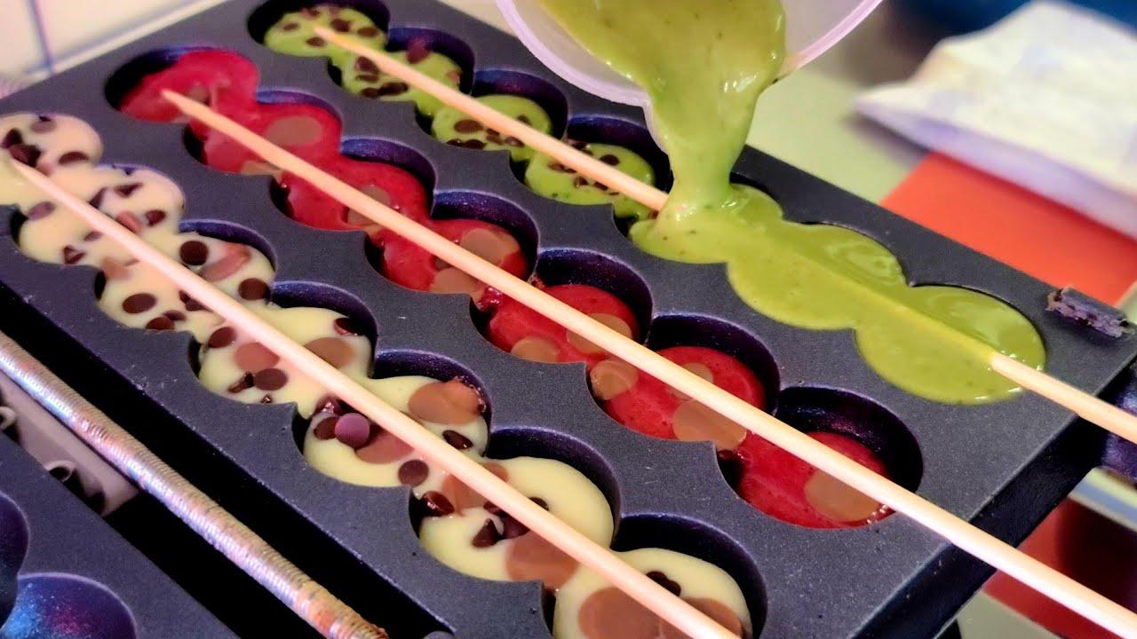 Unique waffles!! 6 flavor waffle skewers - korean street food