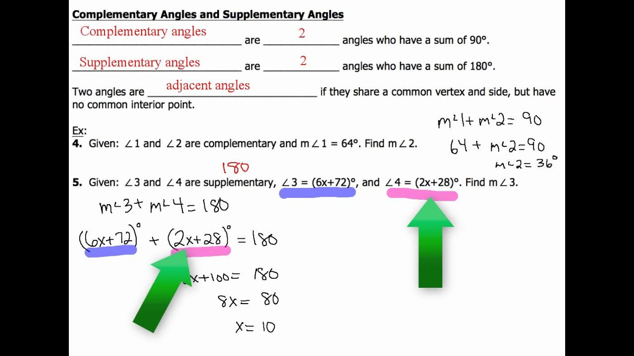 worksheet Supplementary Angles 1 4 and 5 complementary supplementary angles examples v2