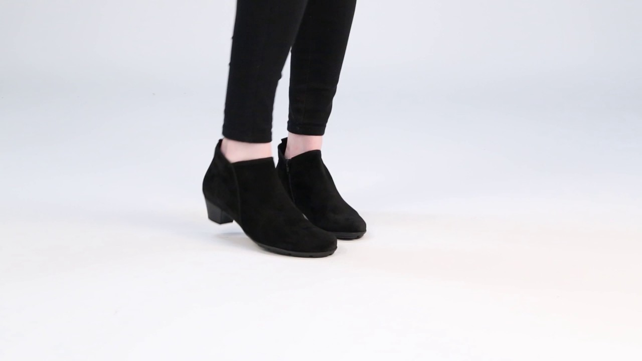 GABOR Trudy Black Suede Womens Ankle