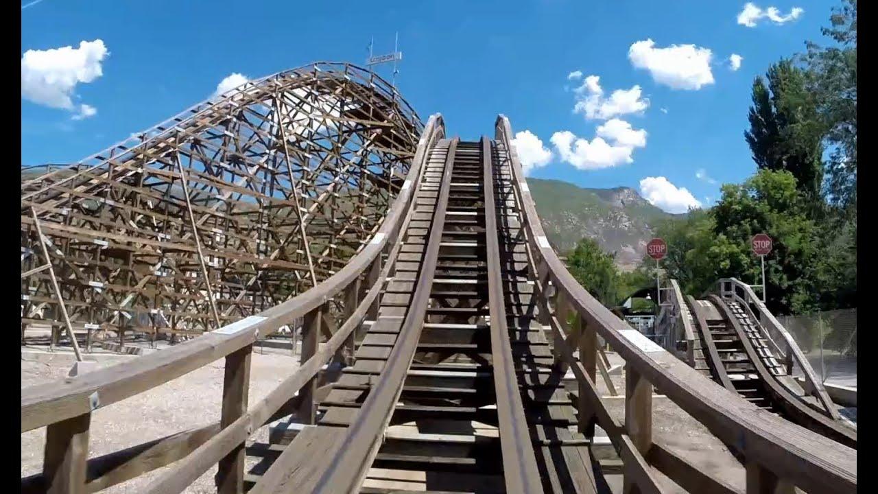 Roller Coaster at Lagoon Amusement Park - HD Front Seat ...