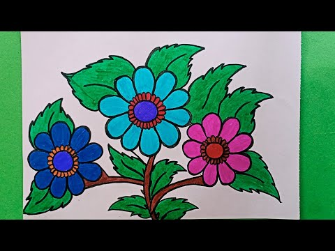 #Flower#Drawing How to Draw a Flowers Design Colouring easy and simple  Flowers Design  