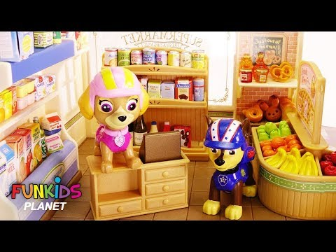Learning Colors Videos for Kids: Paw Patrol Skye & Chase Play Calico Critter Bakery & Supermarket