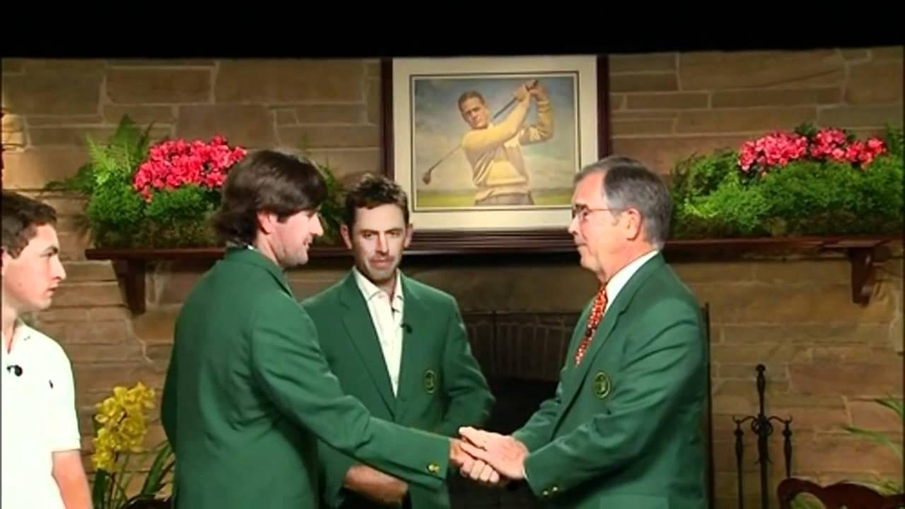 Bubba Watson gets green jacket - awkward moment - YouTube