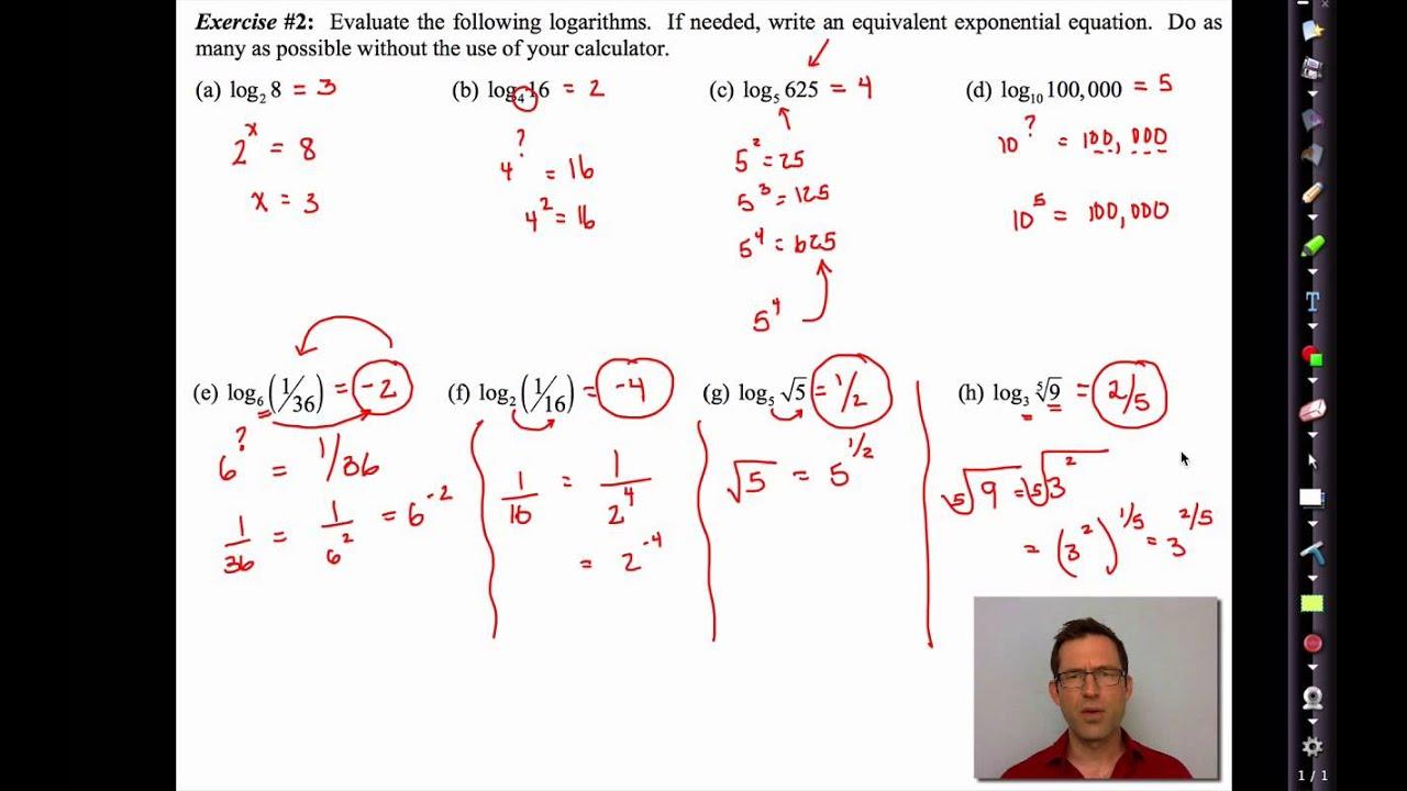 Common Core Algebra Ii Unit 4 Lesson 8roduction To Logarithms
