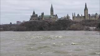Flood Waters Raging in the Ottawa River Behind Parliament Hill