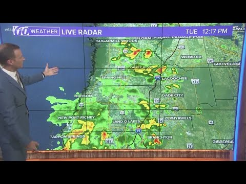 Tracking widespread showers and storms across Tampa Bay