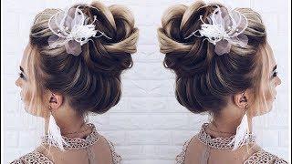 Высокий пучок СВАДЕБНАЯ ПРИЧЕСКА Подробный урок. Wedding hairstyle