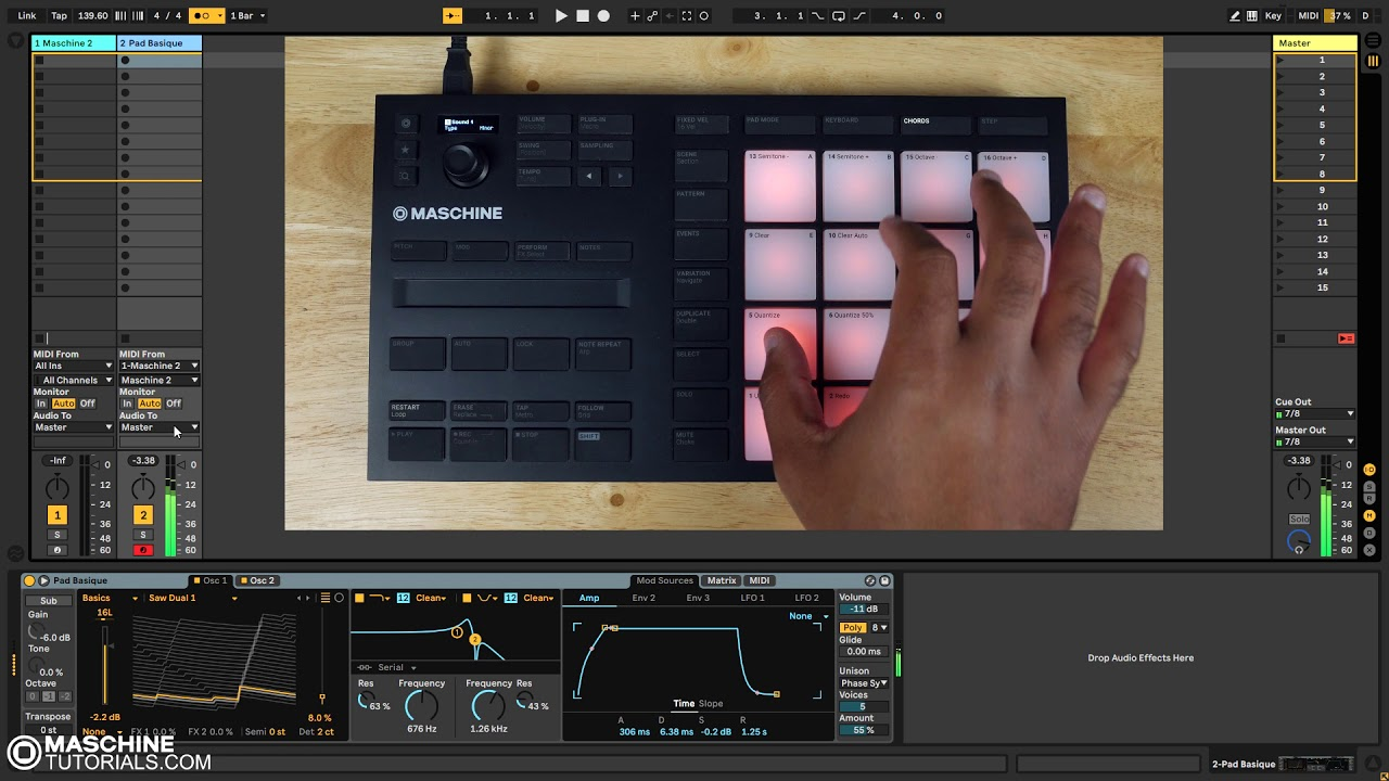 Maschine Mikro MK3 Recording Chords in Ableton Live 10 - Maschine