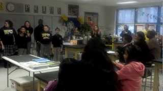 bvp middle school scholar ambassadors teach newly accepted scholars a cheer