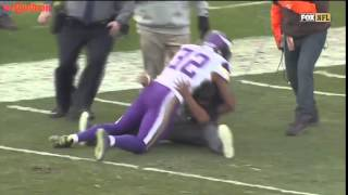 Fan Runs On Field And Gets Tackled By Vikings Safety!