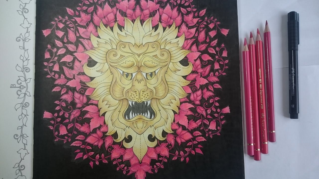 Coloring A Golden Lion In Enchanted Forest By Johanna Basford