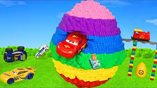 LEGO Surprise Egg with Trains, Police Cars, Excavator & Fire Truck Toy Vehicles for Kids