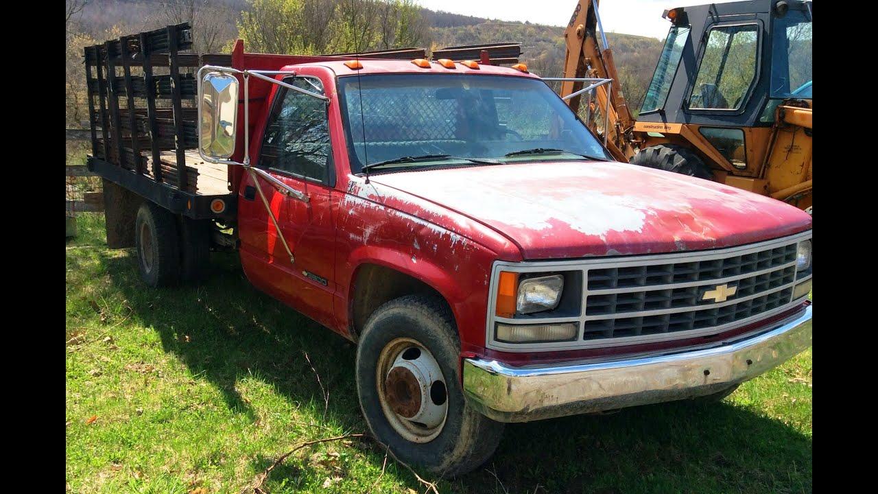 1990 Chevrolet 3500 stake body truck - YouTube