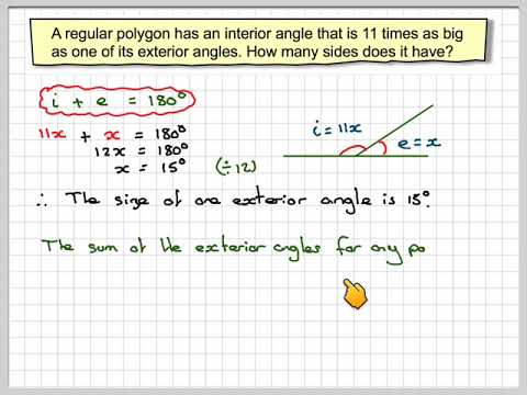 Finding the number of sides of a regular polygon given the - Find exterior angle of a polygon ...