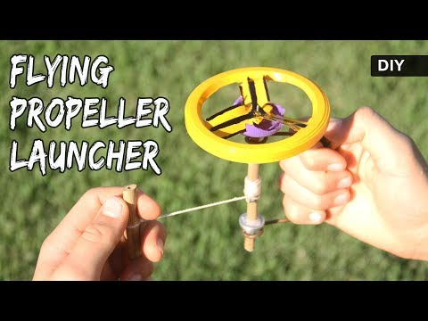 How to make a FLYING PROPELLER LAUNCHER | DIY UFO pull string toy