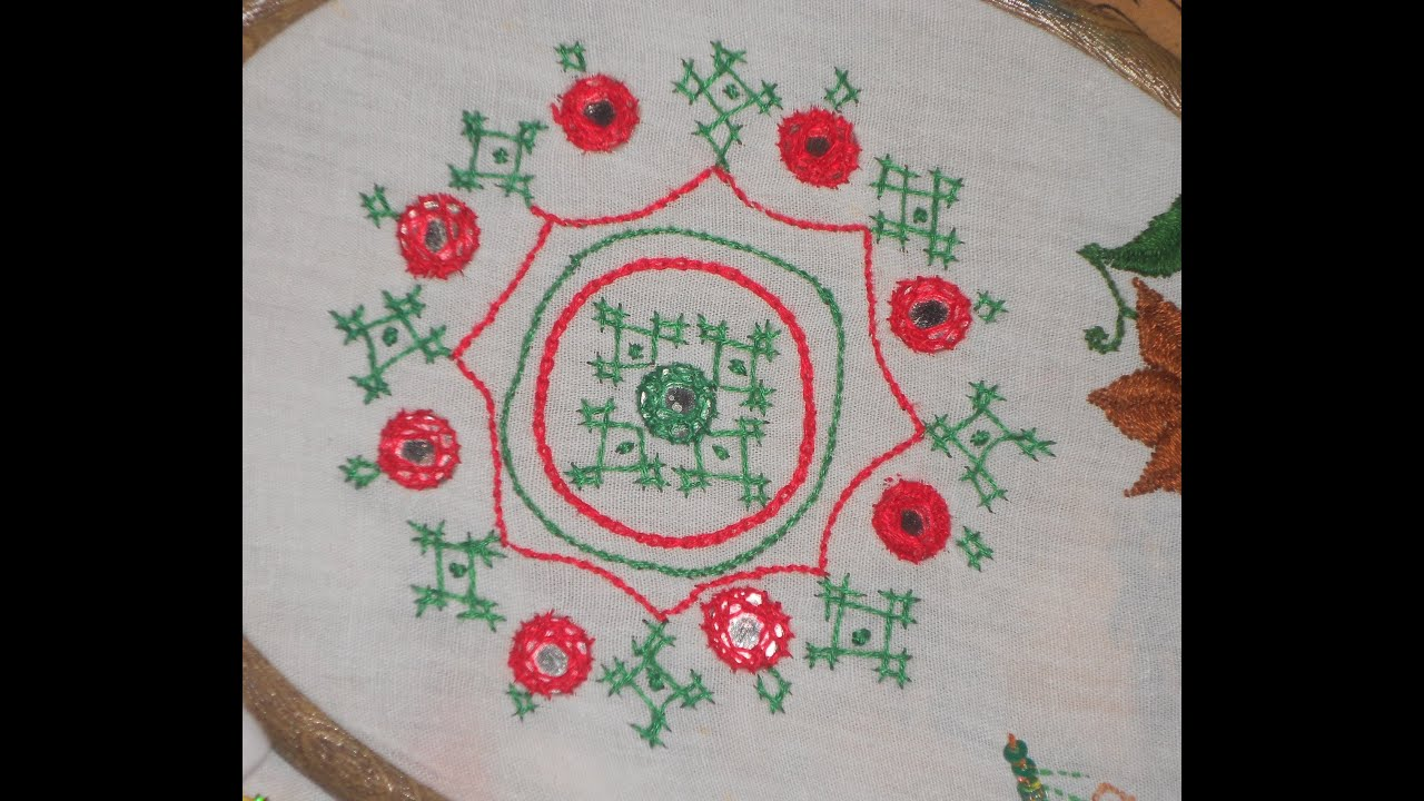 Simple hand embroidery designs for tablecloth - Hand Embroidery Simple And Elegant Design Using Lattice Work Mirror Work