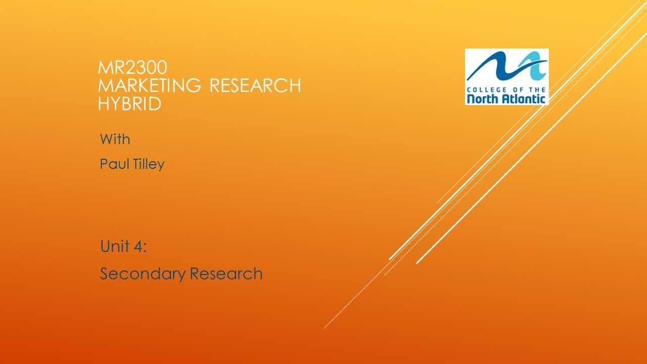 secondary research in marketing The kind of information that a business organization aims to collect about its competitors, customers and the prevailing market condition influences research procedure adopted by it.