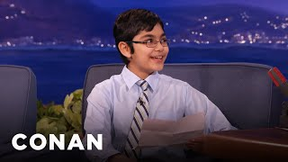 Child Prodigy Tanishq Abraham's Hilarious Science Jokes  - CONAN on TBS 2017 Video