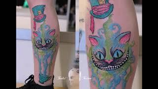 Значение тату Чеширский кот - примеры интересных фото с рисунками готовых татуировок