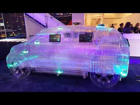 Entrepreneur Michael S Novilla with Crazy LED Glass Car Las Vegas 2018 CES
