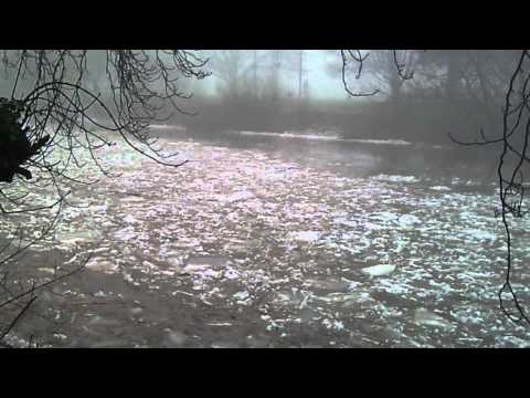 Ice flowing down the river wye