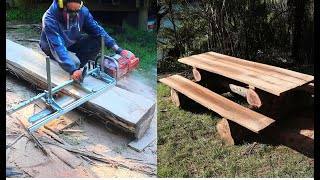 How to convert logs into slabs using a chainsaw mill