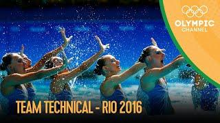 Artistic Swimming: Team Tech   Rio 2016 Replays