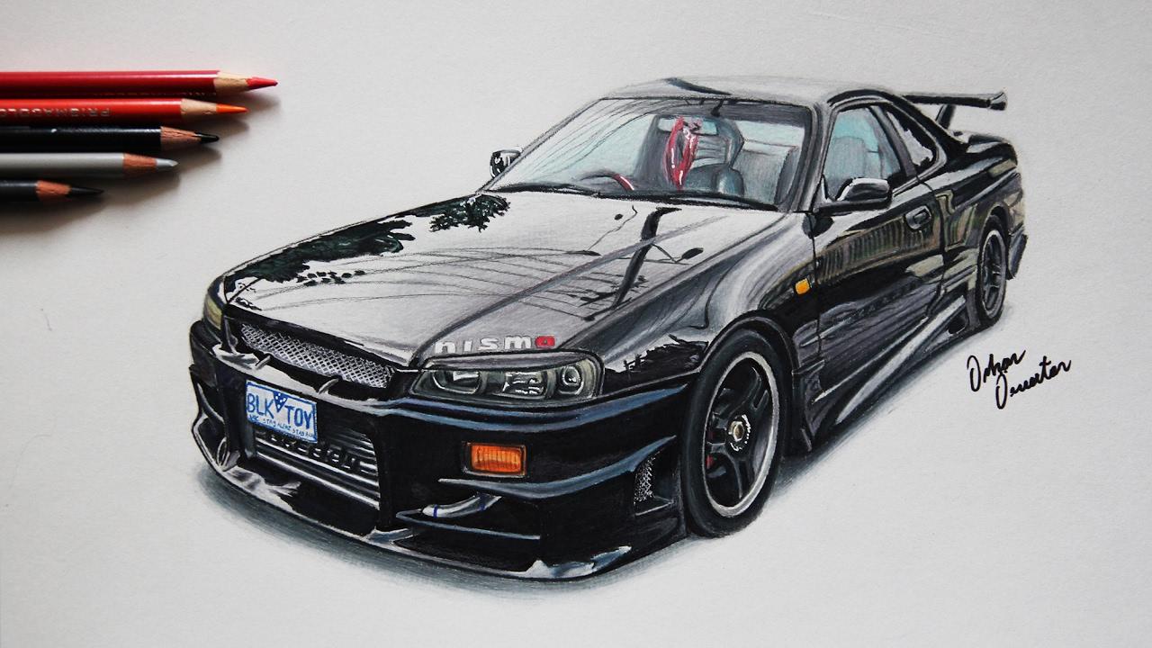 Nissan Gtr Skyline R34 Black Front Realistic Car Drawing Youtube