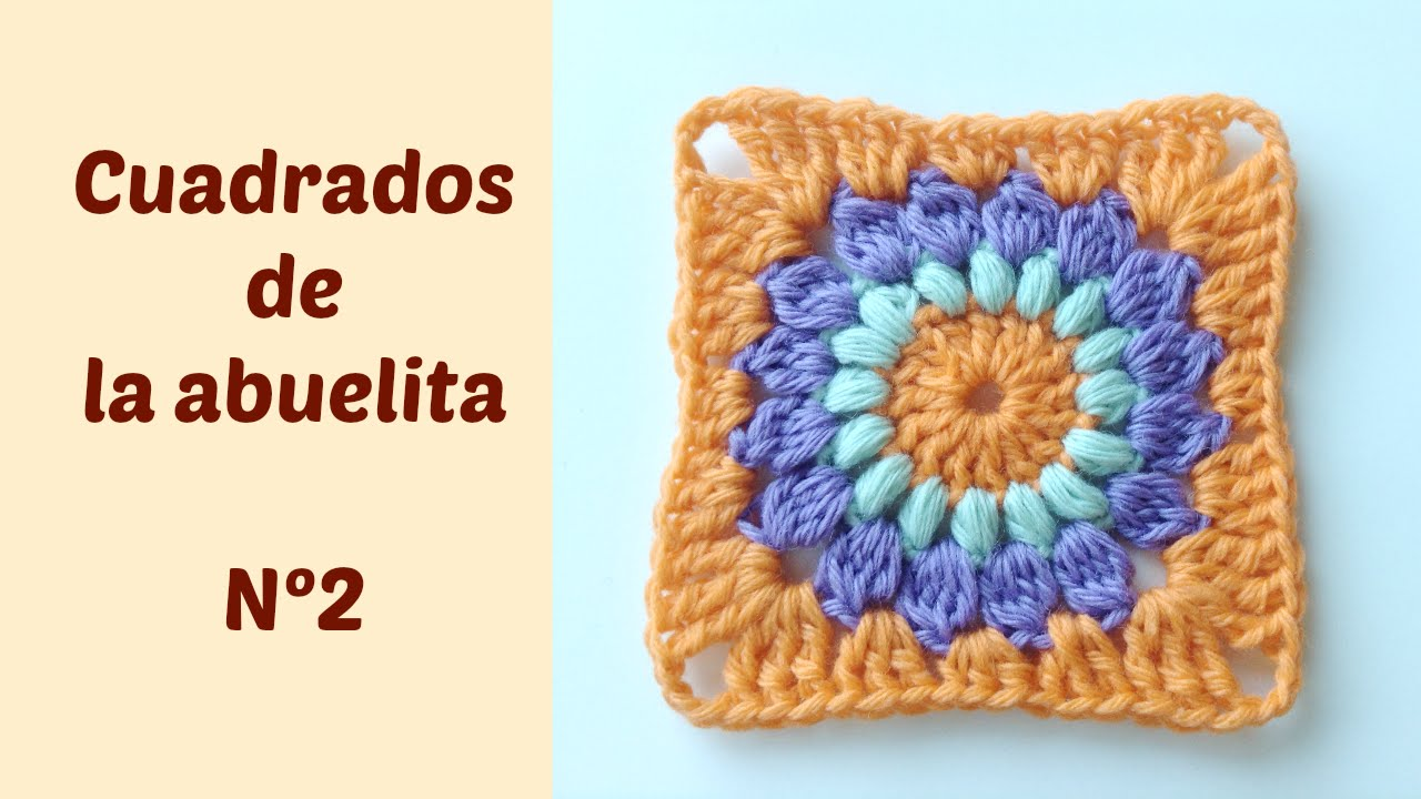 Cuadrado Ganchillo Granny Squares With Crochet Flower In The Center N2