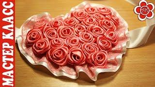 Coração kanzashi com rosas – Trabalho magnífico