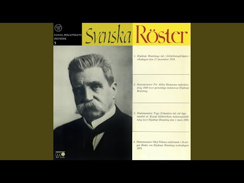 Radioföredrag 1936 över personliga minnen av Hjalmar Branting