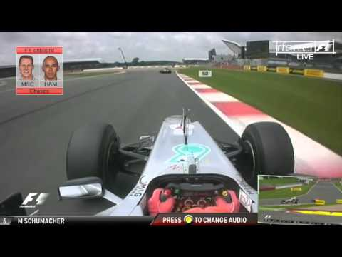 F1 Chases onboard | F1 2012 - R09 - Michael Schumacher vs Hamilton Silverstone