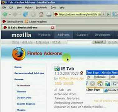 Mozilla Firefox 2 HowTo add the IE-Tab