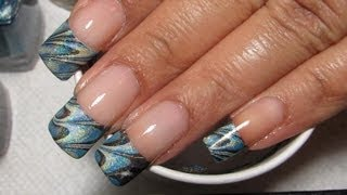 French Tip   Water Marble March 2013 #7   Diy Nail Art Tutorial
